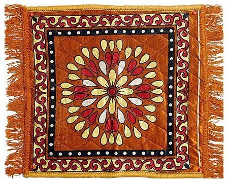 Dark Yellow Velvet Ritual Carpet Asan