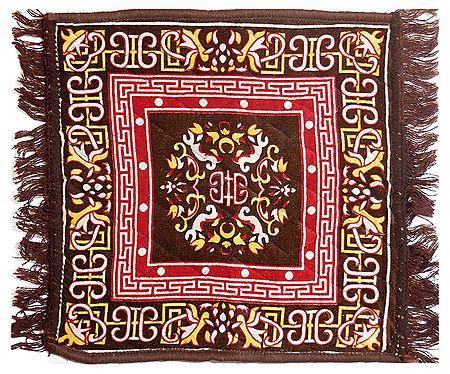 Dark Brown Velvet Ritual Carpet Asan
