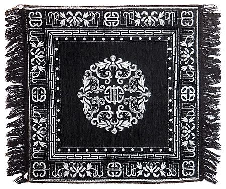 White Weaved Design on Black Cotton Ritual Mat