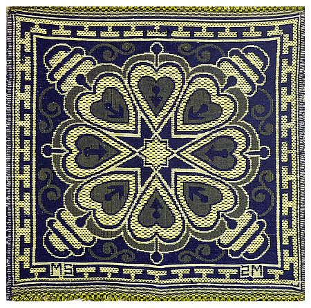 Reversible Blue with Yellow Cotton Ritual Mat