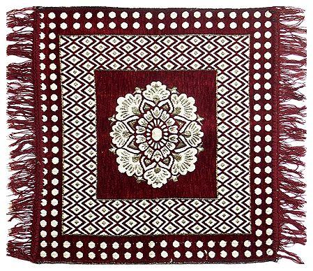Reversible Maroon Cotton Ritual Mat