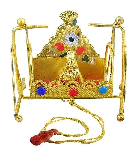 Metal Carving Throne Jhula with Bal Gopal