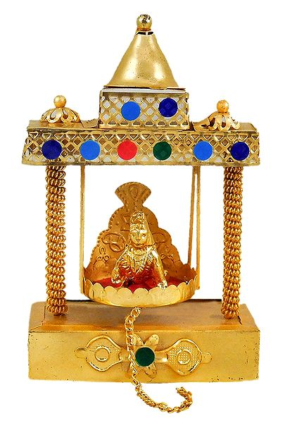 Metal Carving Temple Jhula with Bal Gopal