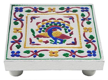 Colorful  Peacock Design Square Ritual Seat