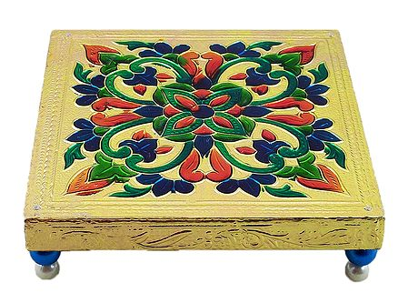 Square Ritual Seat With Meenakari Flower Design on Metal Foil Paper
