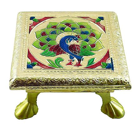 Rectangle Ritual Seat With Meenakari Peacock Design on Metal Foil Paper