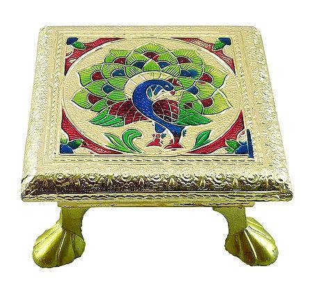 Rectangle Ritual Seat With Meenakari Peacock Design on Metal Foil Paper