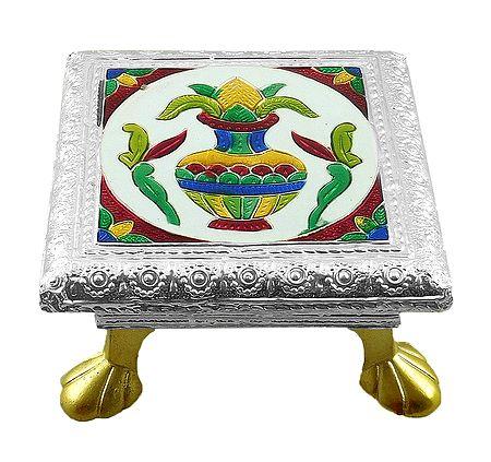 Rectangle Ritual Seat With Meenakari Kalash Design on Metal Foil Paper