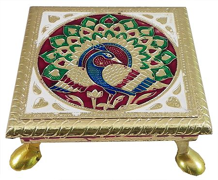 Peacock Design on Wood Ritual Seat Wrapped with Metal Foil
