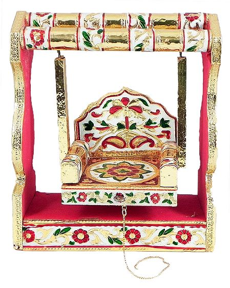 Colorful Wooden Jhula for Deity