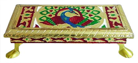 Meenakari Peacock Design Rectangle Ritual Seat