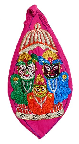 Embroidered Jagannathdev on Magenta Cotton Japa Mala Bag
