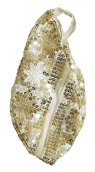 Embroidery with Sequin on White Cotton Japa Mala Bag