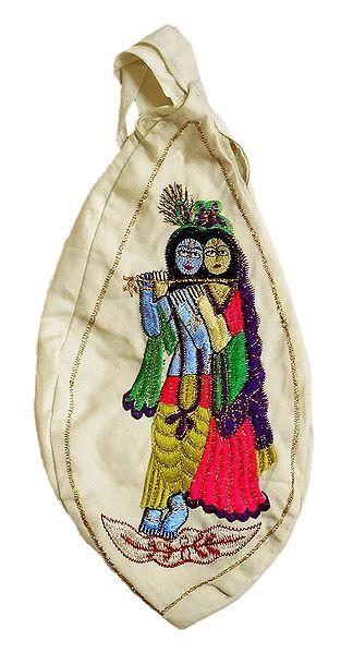 Embroidered Radha Krishna on Off-White Cotton Japa Mala Bag