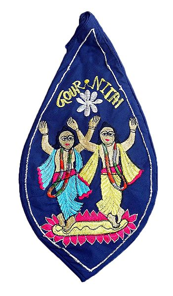 Embroidered Nitai Gaur on Blue Cotton Japa Mala Bag