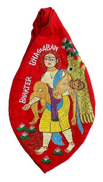 Embroidered Chaitanyadev with Haridas on Red Cotton Japa Mala Bag