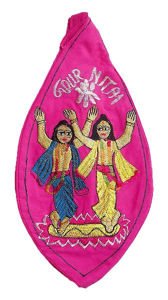 Embroidered Gaur Nitai on Red Cotton Japa Mala Bag