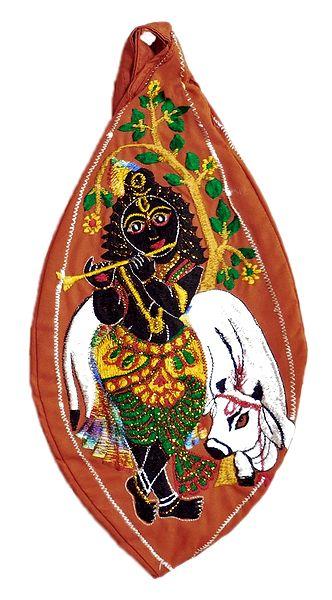 Embroidered Krishna on Cotton Japa Mala Bag