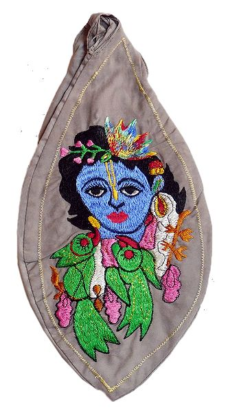 Embroidered Krishna on Pink Cotton Japa Mala Bag