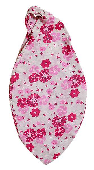 Floral Print on White Cotton Japa Mala Bag