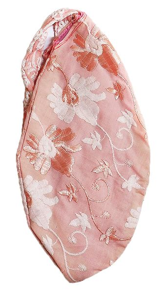 Embroidered Light Pink Cotton Japa Mala Bag