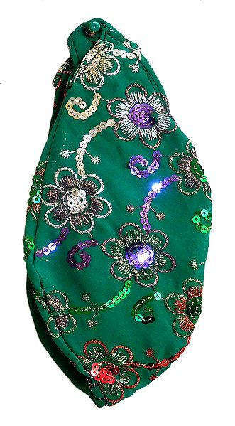 Embroidery with Sequin on Green Cotton Japa Mala Bag