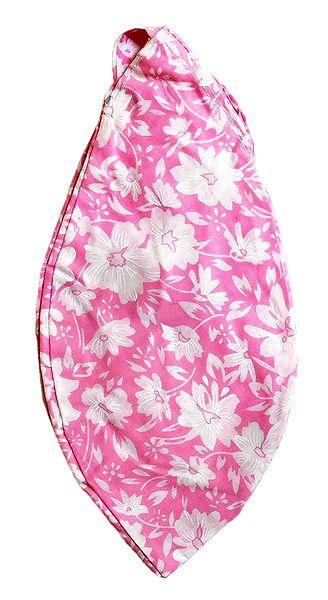 White Print on Pink Cotton Japa Mala Bag