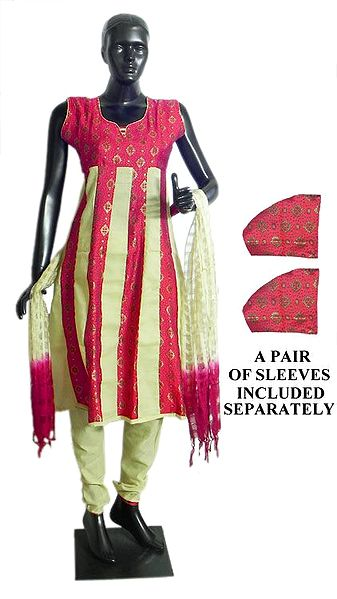 Red with Beige Printed Churidar, Kurta Set