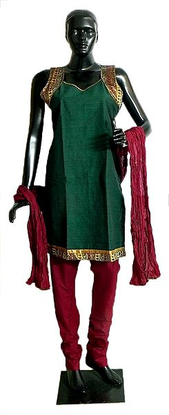 Green Cotton Kurta with Zari Border, Maroon Churidar and Chunni and a Pair of Unstitched Sleeves
