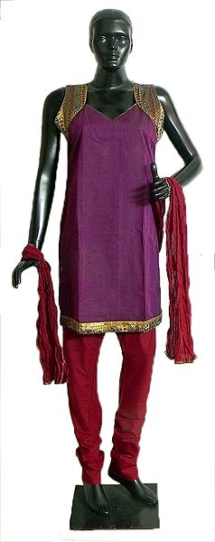 Purple Cotton Kurta with Zari Border, Maroon Churidar, Chunni and a Pair of Unstitched Sleeves