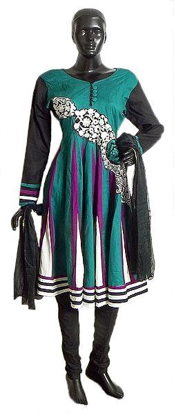Embroidery on Dark Cyan Cotton Full Sleeve Kurta with Black Sleeves, Churidar and Chunni