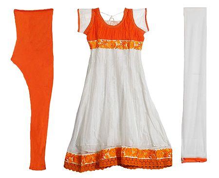 Saffron Parsi Embroidery and Chiffon Neckline on White Net Anarkali Kurta, Saffron Churidar and White Chunni