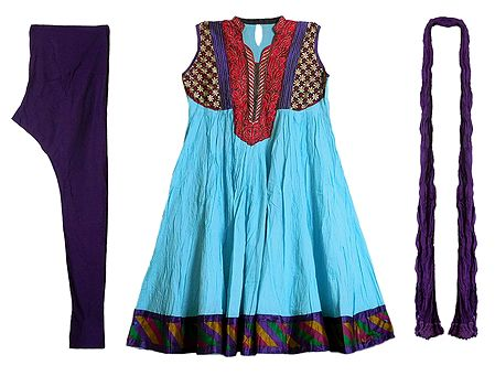 Embroidered Neckline and Multicolor Border on Cyan Wrinkle Cotton Kurta with Purple Churidar and Chunni