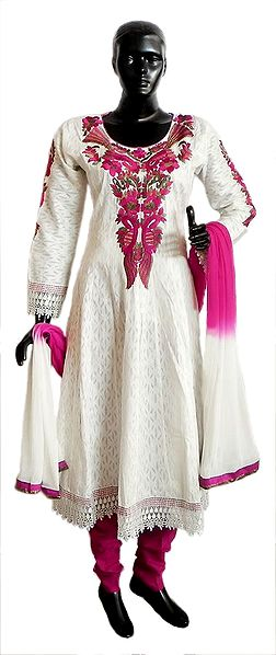 Parsi Embroidered Neckline on Off-White Self Design Cotton Full Sleeve Anarkali Kurta with Magenta Churidar and Chunni