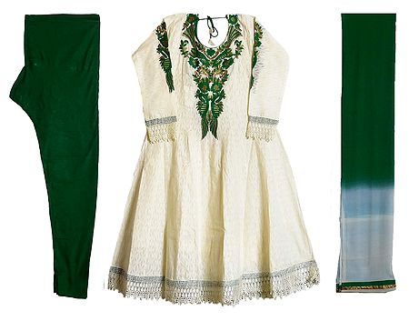 Parsi Embroidered Neckline on Off-White Self Design Cotton Full Sleeve Anarkali Kurta with Green Churidar and Chunni
