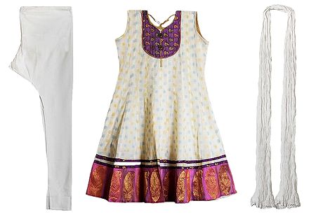 Purple Banarasi Neckline with Paisley Design Border on White Churidar Kurta and Chunni