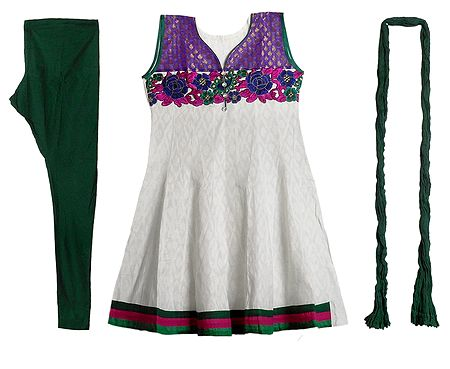 Embroidered Applique Work on Off-White Self Design Cotton Kurta with Green Churidar and Chunni