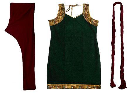 Green Cotton Kurta with Zari Border, Maroon Churidar and Chunni and a Pair of Unstitched Sleeves