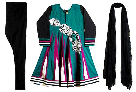 Embroidery on Dark Cyan Cotton Full Sleeve Kurta with Churidar and Chunni