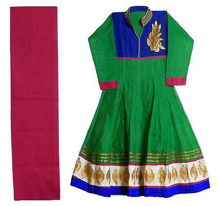 Embroidered Applique Work on Green and Blue Cotton Kurta with Pink Churidar Piece