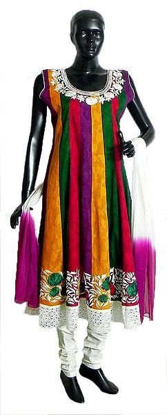 Multicolor Cotton Parsi Embroidered Kurta with White Lace Border, White Churidar and Chunni