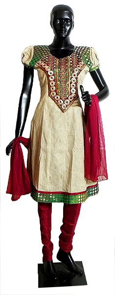 Beige Cotton Kurta with Mirrorwork and Embroidered Neckline with Red Churidar and Chunni
