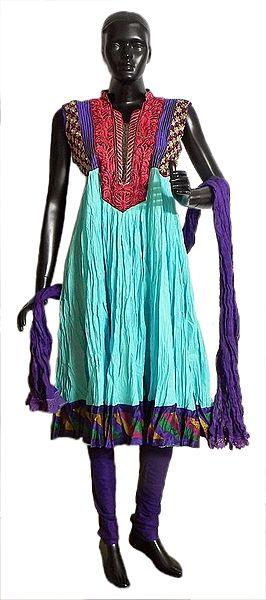 Embroidered Neckline and Multicolor Border on Cyan Wrinkle Cotton Kurta with Purple Churidar and Chunni