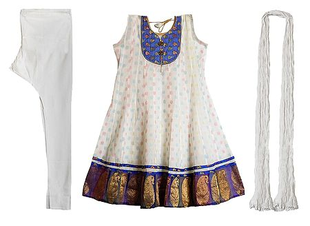 Blue Banarasi Neckline with Paisley Design Border on White Anarkali Churidar Kurta and Chunni