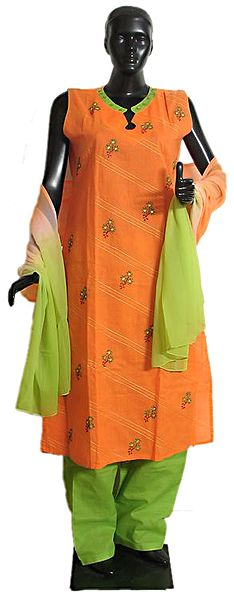Embroidered Stone Setting Saffron Kurta, Green Salwar and Green Saffron Combination Chunni