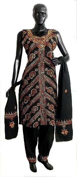 Black Kantha Stitch Cotton Kurta with Salwar and Chunni