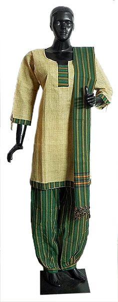 Light Yellow Cotton Kurta with Green and Yellow Striped Salwar and Chunni