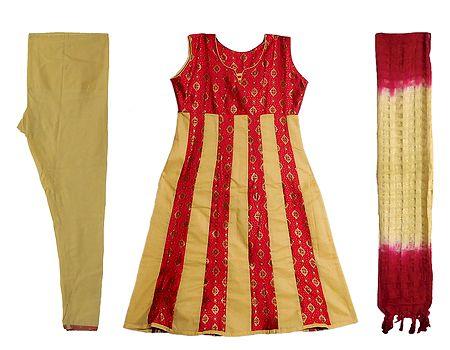 Red with Beige Printed Churidar, Kurta Set