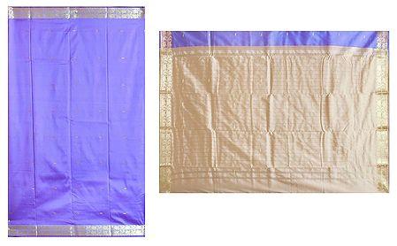 Mauve South Silk Sari with All-Over Zari Boota and Border