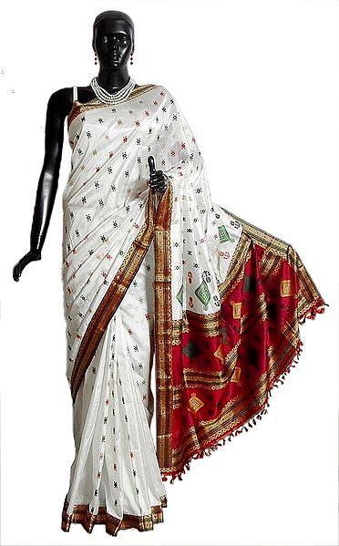 White Assam Pat Silk Saree with Boota All-Over and Gorgeous Red Border and Pallu